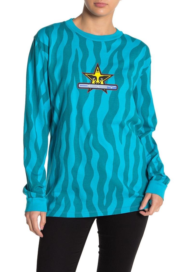 Obey Star Silence Zebra Print T-Shirt