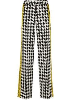 Off-White Appliquéd Houndstooth Wool-blend Wide-leg Pants