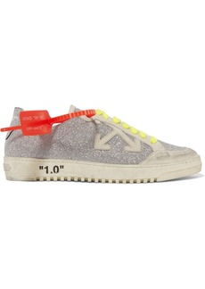 Off-White Arrow 2.0 Distressed Glittered Leather And Suede Sneakers