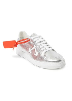 Off-White Arrow 2.0 Low-Top Metallic Leather Sneakers