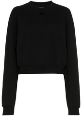 Off-White arrow applique cotton cropped sweatshirt