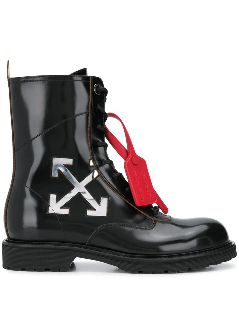 Off-White arrow logo combat boots