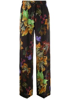 Off-White Arrows leaf-print wide-leg trousers