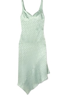 Off-White Asymmetric Open-back Satin-jacquard Midi Dress
