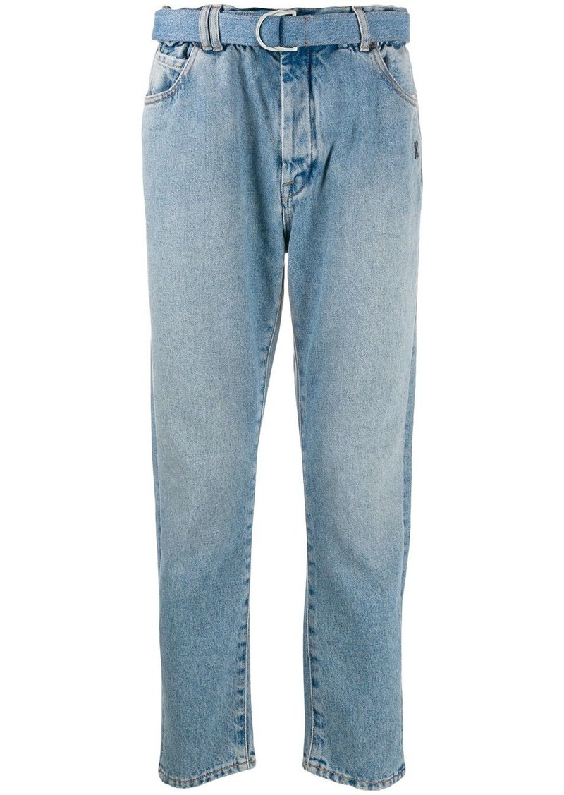 Off-White belted straight leg jeans