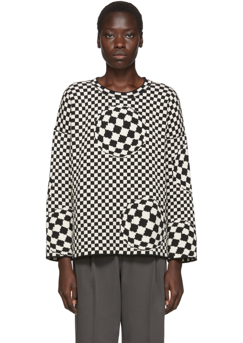 Black & Off-White Checked Sweater