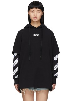Off-White Black Airport Tape Double-Layer Hoodie