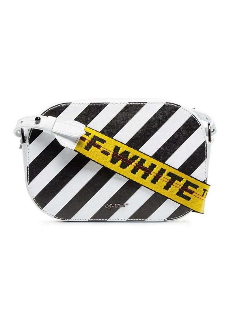 599e3ba824 Off-White black and white diagonal stripe leather camera bag