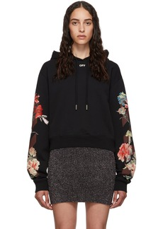 Off-White Black Cropped Flowers Hoodie