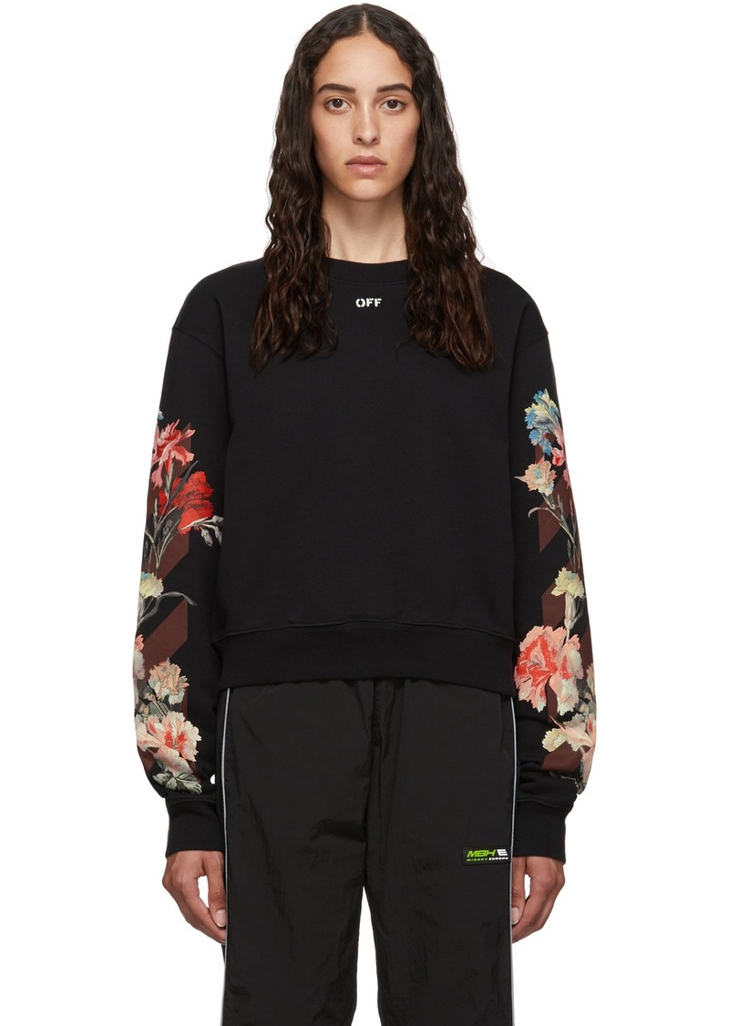 Off-White Black Cropped Flowers Sweatshirt