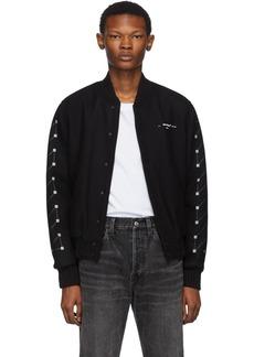 Off-White Black Embroidered Skinny Varsity Bomber Jacket