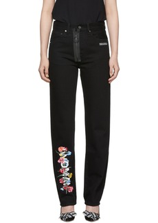 Off-White Black Vintage Flowers Baggy Jeans