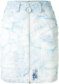 Off-White bleached-effect denim skirt
