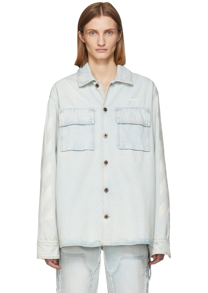 Off-White Blue Denim Oversized Bleach Diag Shirt