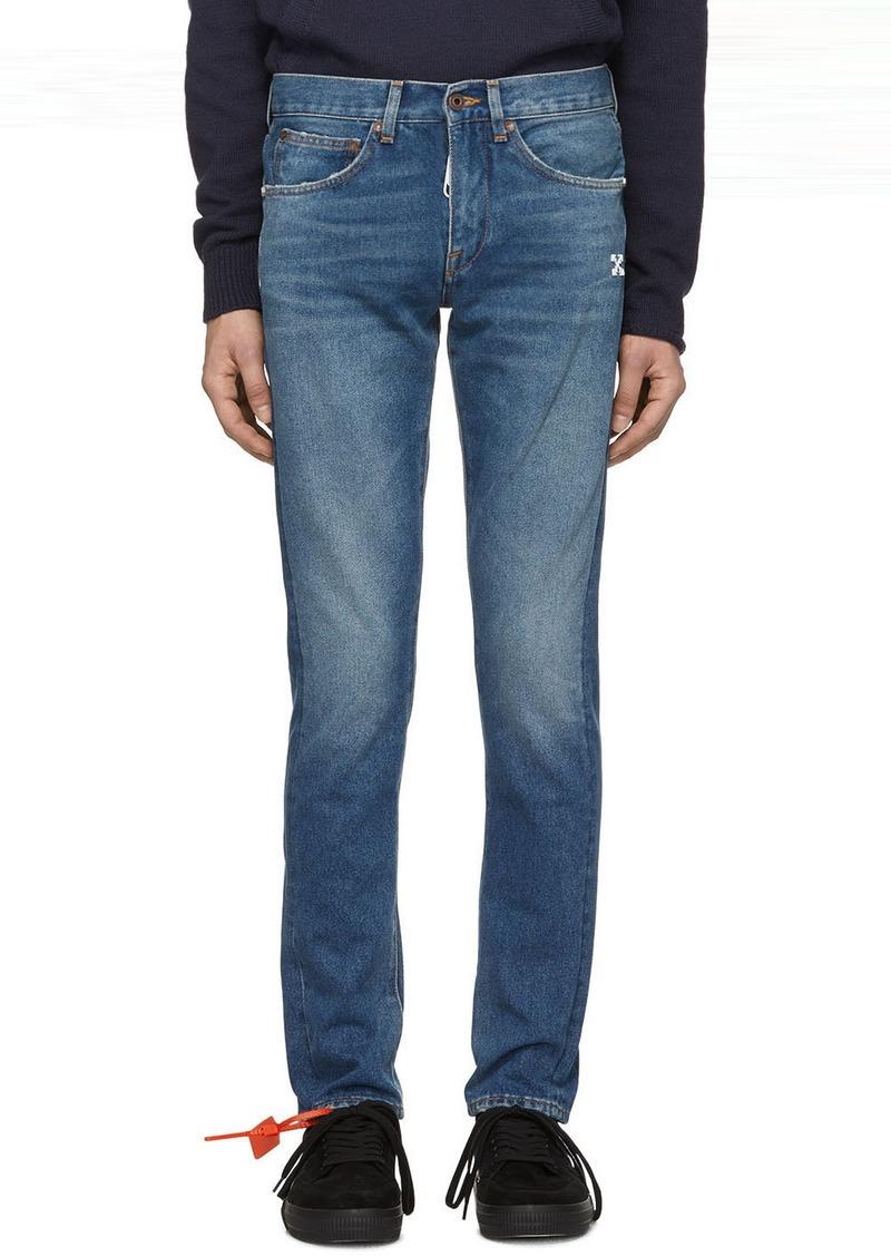 Off-White Blue Diag Slim Jeans