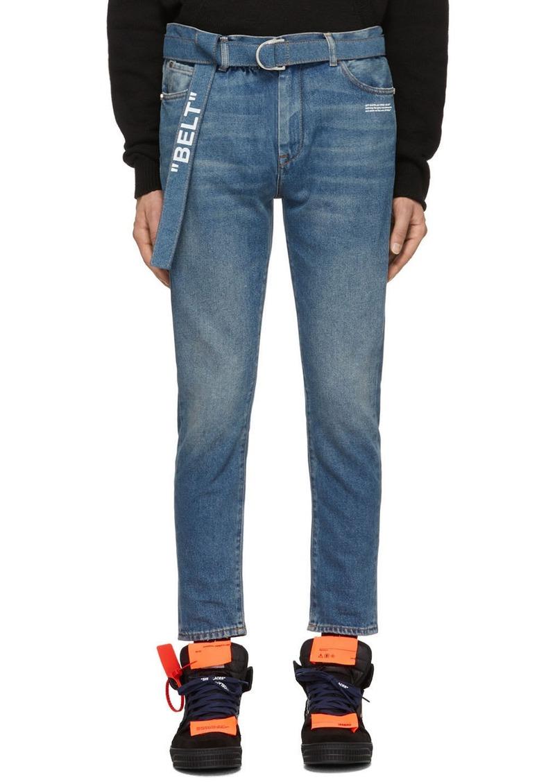 Off-White Blue Slim Low Crotch Jeans