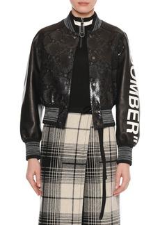 "Off-White ""Bomber"" Python-Embossed Crop Varsity Leather Jacket"