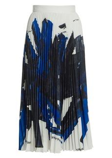 Off-White Brushstroke Plissé Silk Midi Skirt