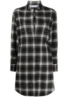 Off-White drawstring checkered shirt dress