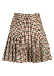 Off-White Check Pleated Wool Mini Skirt