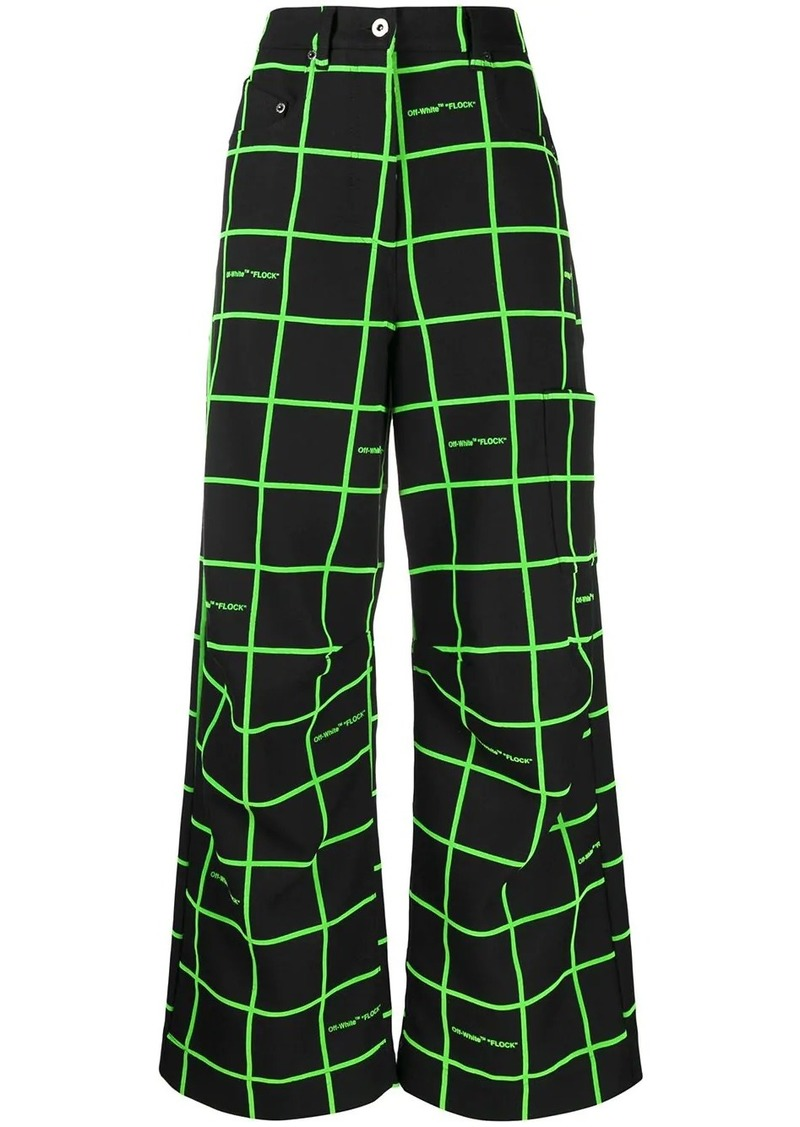 Off-White checked wide-leg trousers