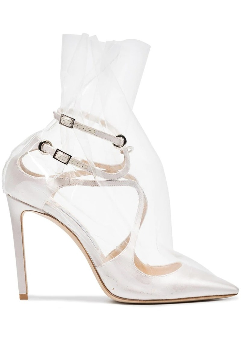 ad13473a8f8 Off-White C O Jimmy Choo Claire 100 Satin Pumps