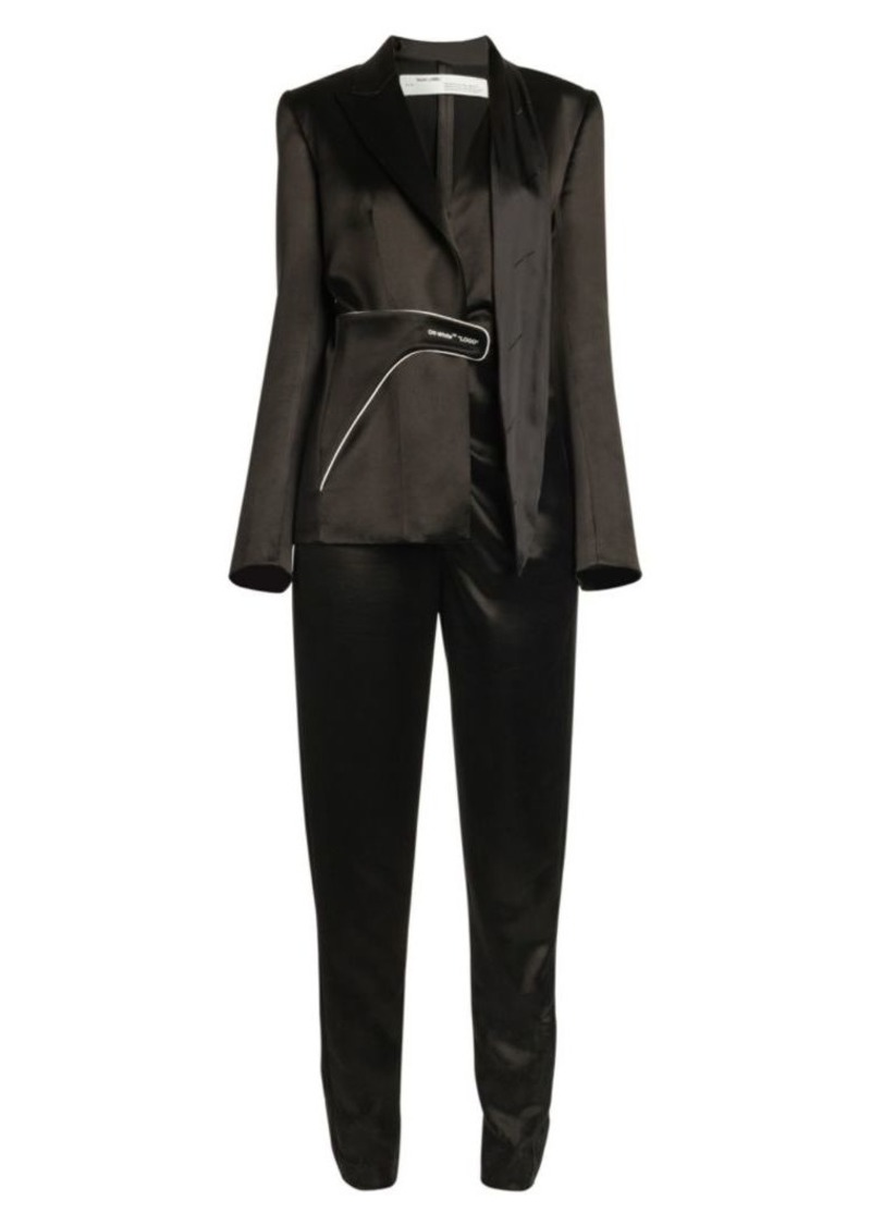Off-White Collage Satin Tailored Jumpsuit