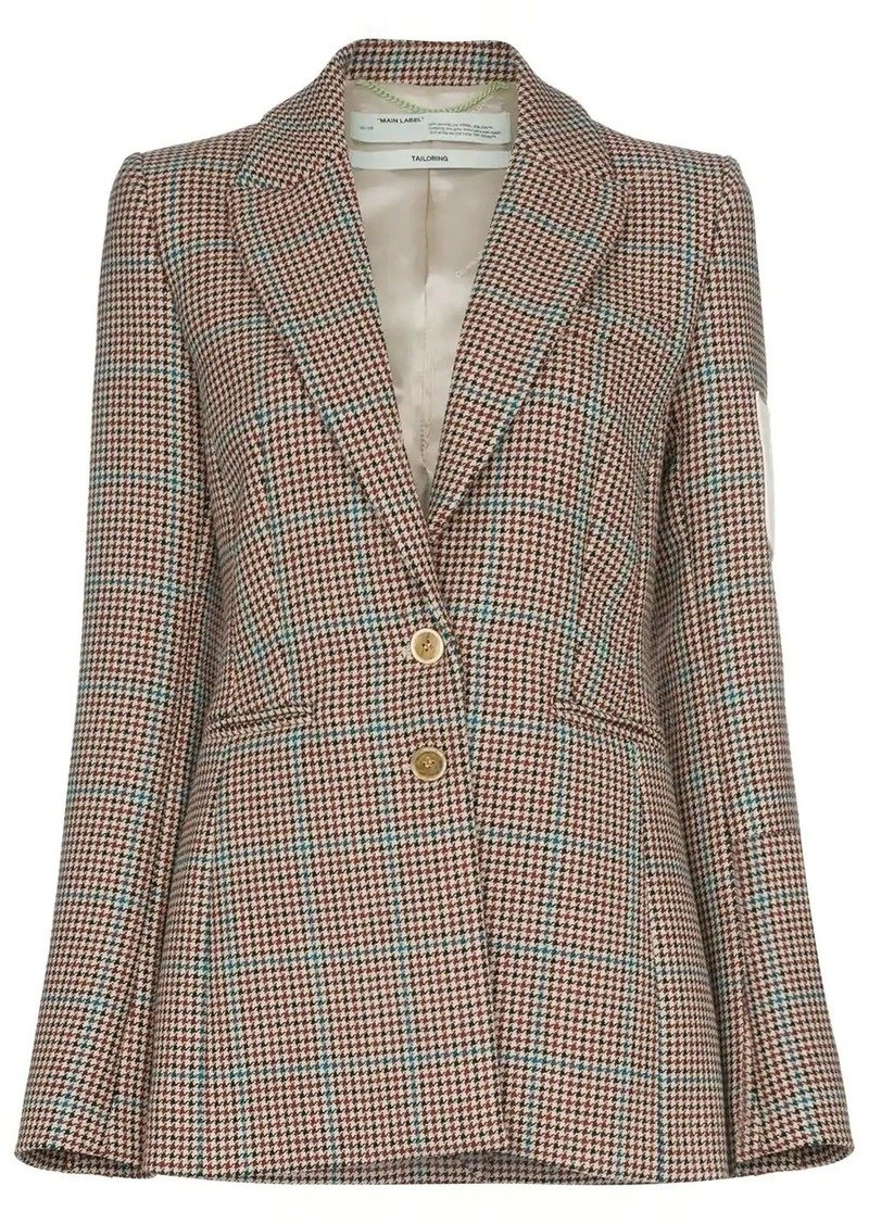 Off-White contrast-patch tweed blazer