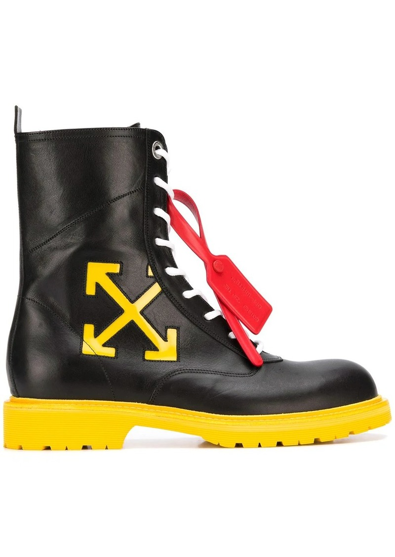 Off-White contrast sole lace-up boots