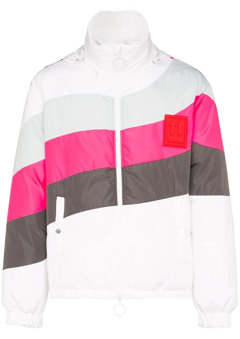 Off-White contrast stripe puffer jacket