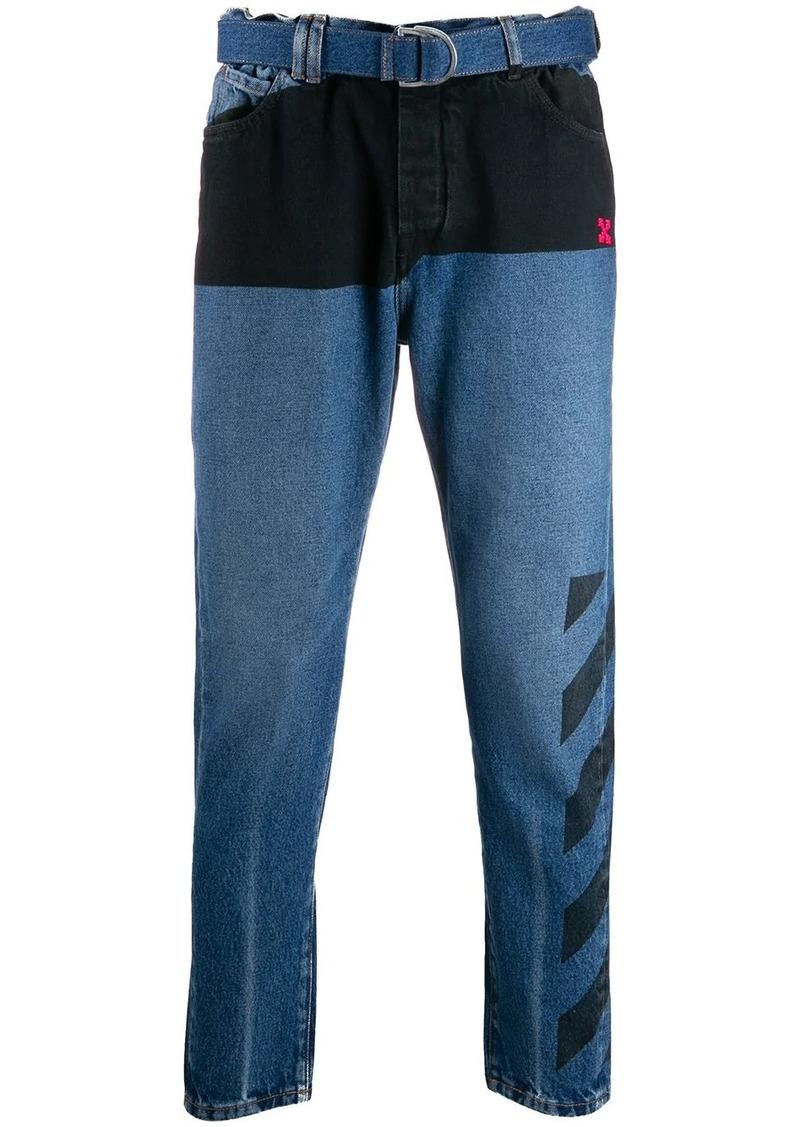 Off-White contrast stripe slim-fit jeans