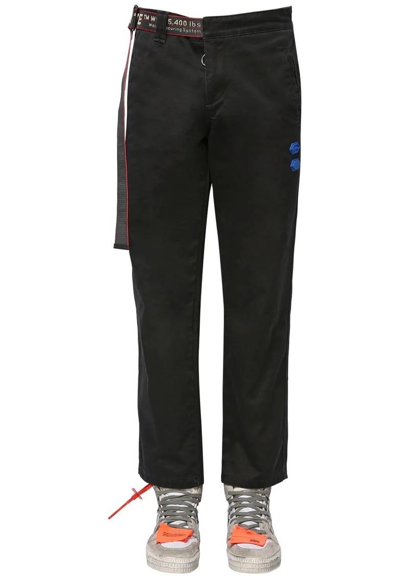 Off-White Cotton Chino Pants W/logo Belt