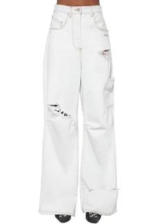 Off-White Cotton Denim Cargo Jeans