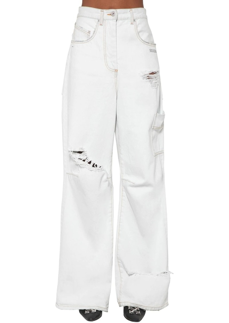 Off-White Cotton Denim Cargo Jeans