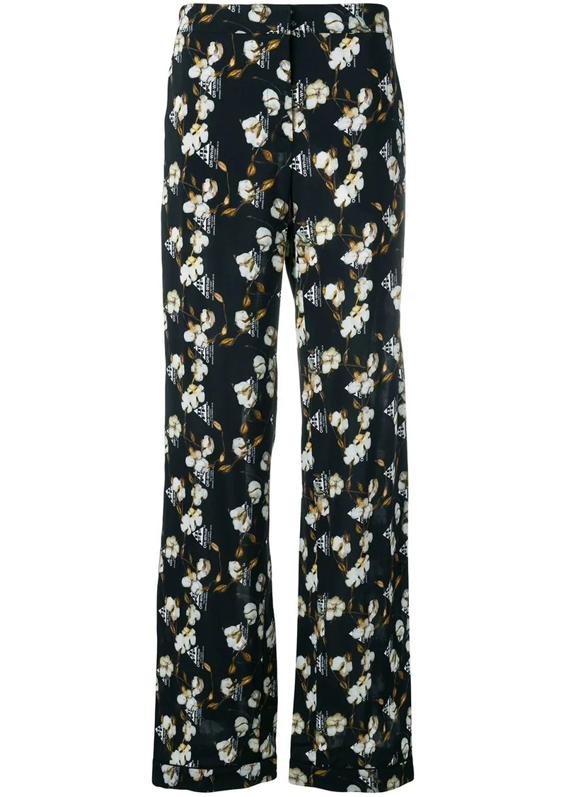 Off-White cotton flower print trousers
