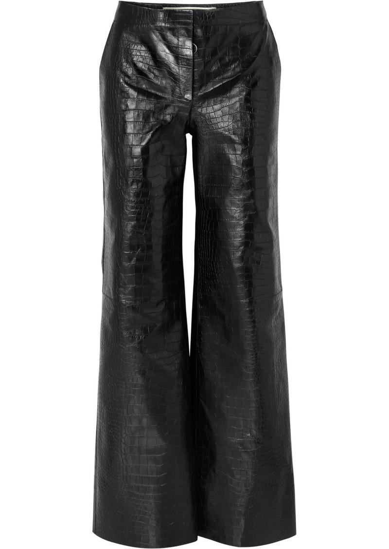 ff4207c4f5c5 Off-White Croc-effect Leather Wide-leg Pants