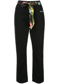 Off-White cropped foulard belted jeans