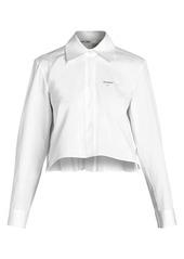 Off-White Cropped Pleated Logo Back Shirt
