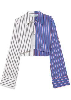 Off-White Cropped striped cotton-twill shirt