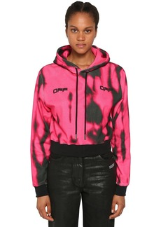 Off-White Cropped Tie Dye Cotton Hoodie