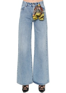Off-White Cropped Wide Leg Cotton Denim Jeans