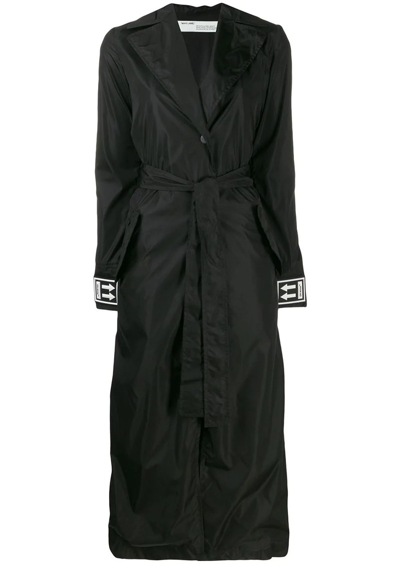 Off-White cuff logo belted trench coat
