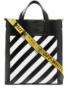 Off-White logo-print striped tote bag
