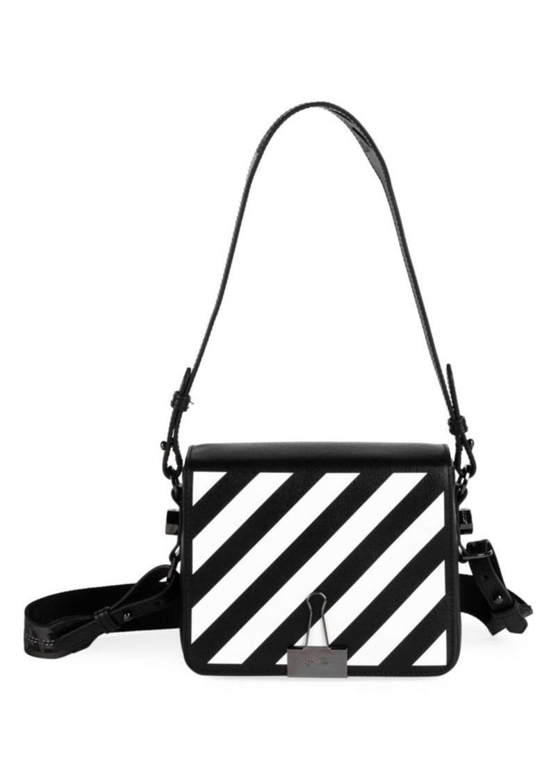 Off-White Diagonal Binder Clip Leather Crossbody Bag
