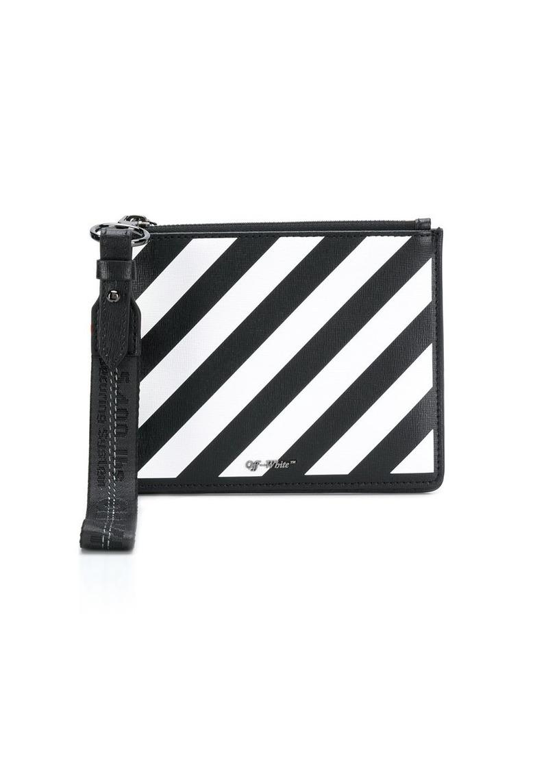 Off-White diagonal stripe clutch