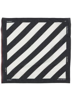 Off-White Diagonal Stripe Cotton Blend Bandana