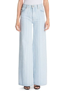 Off-White Diagonal Stripe Wide Leg Jeans
