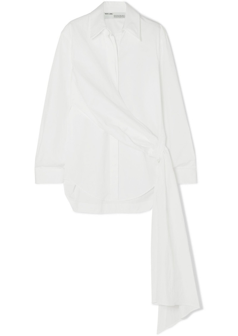 Off-White Distressed Printed Cotton-poplin Wrap-effect Shirt