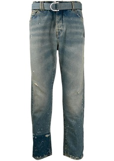 Off-White distressed straight-leg jeans