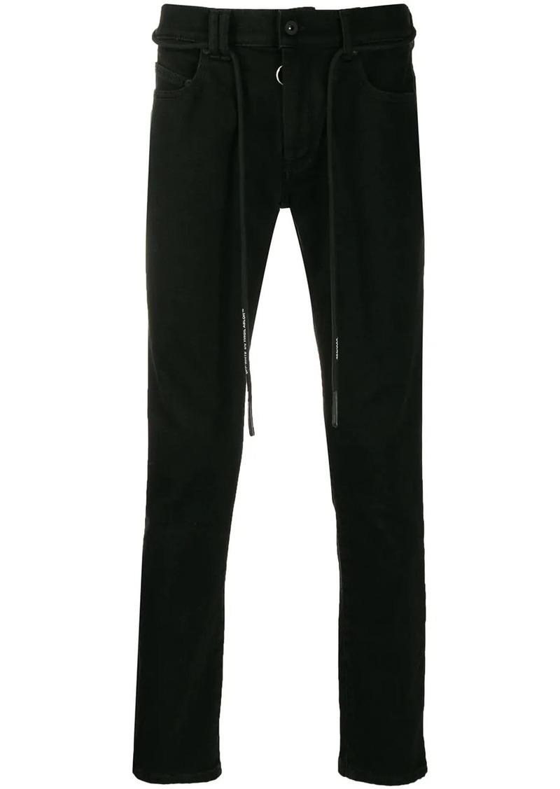 Off-White drawstring slim logo jeans